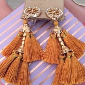 Anthropologie earrings copper tassels gold earring